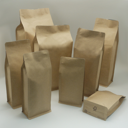 China 500g 1000g Coffee Bean Packaging Bags Small Kraft Paper Pouches With Valve
